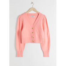 Puff Sleeve Short Cardigan - Pink