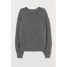H & M - Strickpullover mit Perlen - Grau - Damen