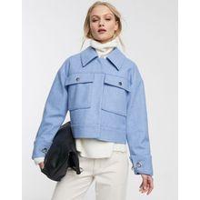 Selected Femme – Blaue Trucker-Jacke aus Wollmischgewebe mit Taschen