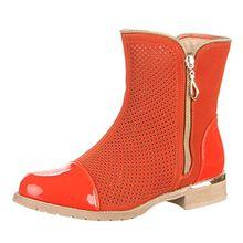 Damen Schuhe, W-15, Stiefeletten, Perforierte Boots, Synthetik in Hochwertiger Velourlederoptik und Lacklederoptik, Orange, Gr 37