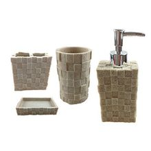 Bad Set Badezimmer Badgarnitur Stein Optik Seifenspender Zahnputzbecher Badset (69-8 beige)