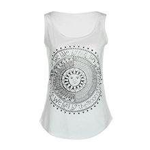 FEITONG Damen Beiläufige Sommer Sun Drucken Ärmellos Bluse Weste T-Shirt Tank Tops (S, Weiß)