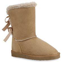 Warm Gefütterte Damen Stiefel Boots Schlupfstiefel Kunstfell Schuhe 57971 Khaki 38 Flandell