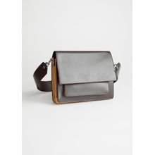 Short Leather Crossbody Bag - Brown