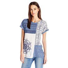 Desigual Damen T-Shirts TS_Sara, Blau (Graystone 5154), X-Small