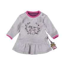 SIGIKID Baby Sweatkleid grau / dunkellila / pink