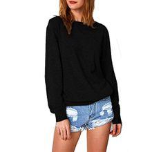 Damen Pullover, FEITONG Frauen Tops Süße katzen Gedruckt Beiläufig Langes Hülsen Blusen Sweatshirt (L, Schwarz)