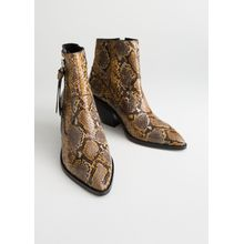 Leather Cowboy Ankle Boots - Yellow