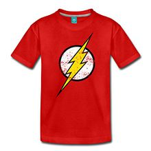 Spreadshirt DC Comics Justice League Flash Logo Teenager Premium T-Shirt, 158/164 (12 Jahre), Rot