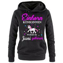 Einhorn Königinnen wurden im Juni geboren ! Damen HOODIE Sweatshirt mit Kapuze SCHWARZ, Gr.S