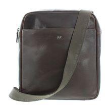 Braun Büffel Schultertasche PARMA in elegantem Design Handtaschen dunkelbraun Herren