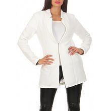 Damen lang Blazer mit Taschen ( 573 ), Farbe:Weiß, Blazer 1:36 / S