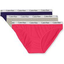Calvin Klein Damen Unterwäsche-Set Bikini 3er Pack, Mehrfarbig (Salvia/Grey Heather/Sultry Vyi), 38 (Herstellergröße: M)