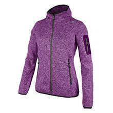 Fleecejacke Sondermodell Kiara Strickfleece Outdoor Jacke CMP für Damen mit Fleece-Innenausstattung und weicher Kapuze- Gr. 34, Berry-Bianco-grau