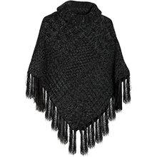 styleBREAKER warmer Strick Poncho mit Schalkragen und Fransen, Rollkragen und Zopfmuster, Damen 08010016, Farbe:Schwarz