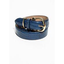 Croco Leather Belt - Blue