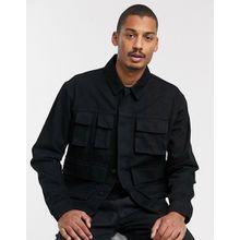 ASOS DESIGN – Schwarze Jeansjacke mit Utility-Taschen