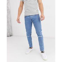 Soul Star - DEO - Eng geschnittene Jeans in Hellblau mit Zierrissen - Blau