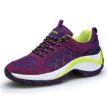 KOUDYEN Damen Mesh Sportschuhe Trendfarben Runners Schnür Sneakers Laufschuhe Fitness,XZ006-purple-EU39