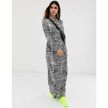 ASOS DESIGN - Maxi-Hemdkleid mit Knopfleiste und schwarz-weißem Zebramuster - Mehrfarbig