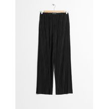 Raw Edge Pleated Trousers - Black