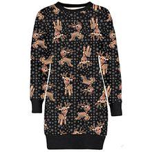Frauen Christmas Reindeer Printed lange Sleeve weihnachten Sweatshirt Pullover Kleid 36-50 (40-42, Baby Reindeer Snowflakes)