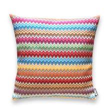 Moderne Kissenhülle Dekokissenbezug Dorian 50x50 cm bunt gewebt in tollen Farben - Zick-Zackmuster - modisch und trendy - aus Baumwolle/Polyester/Acryl und daher pflegeleicht und knitterarm