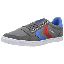 Hummel SLIMMER STADIL LOW, Unisex-Erwachsene Sneakers, Grau (Castle Rock/Ribbon Red/Brilliant Blue), 43 EU (9 Erwachsene UK)