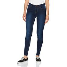 PIECES Damen Skinny Jeans Pcfive Bettysoft C113 MW Skn Dbld/Noos, Blau (Dark Blue Denim), 42 (Herstellergröße: XL)