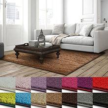 Shaggy Teppich Barcelona | weicher Hochflor Teppich für Wohnzimmer, Schlafzimmer und Kinderzimmer | mit GUT-Siegel und Blauer Engel | verschiedene Größen | viele moderne Farben | 160x230 cm | Hellbraun