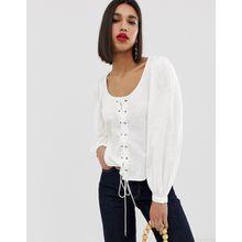 Vero Moda - Bluse mit eckigem Ausschnitt und voluminösen Ärmeln - Weiß