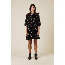 Ganni Kleid mit floralem Print Schwarz