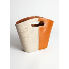 Leather Canvas Mini Clutch Bag - Beige