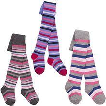 I2i Mädchen-Strumpfhosen aus Baumwolle, bunte Musterung Gr. 3-4 Jahre, 3 Pack Stripe Multi