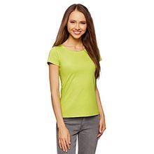 oodji Ultra Damen T-Shirt Basic Aus Baumwolle, Grün, DE 40/EU 42/L