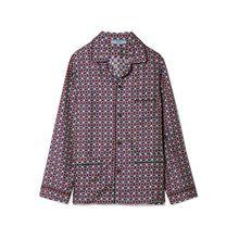 Prada - Bedrucktes Oversized-hemd Aus Glänzendem Seiden-twill - Blau