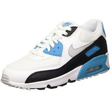 Nike Unisex-Kinder Air Max 90 Mesh GS Low-Top, Blau (101 Sail/Neutral Grey-Black), 40 EU