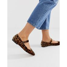 ASOS DESIGN - Links - Flache Mary-Jane-Ballerinas mit Leopardenmuster - Mehrfarbig
