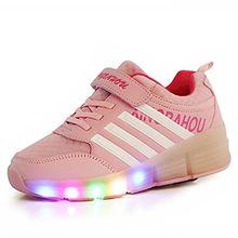 COSHOES Schuhe mit Rollen Skateboardschuhe für Jungen Mädchen Kinder Schuhe Sportschuhe Turnschuhe Laufschuhe Sneakers mit Rollen Rollschuhe LED Wheels Schuhe Rosa 33