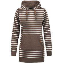 Blend She Cloey Damen Kapuzenpullover Hoodie Long Sweatshirt mit Fleece-Innenseite Longline Sweat-Kleid aus hochwertiger Baumwollmischung, Größe:M, Farbe:Mocca Mix (70816)