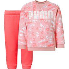 PUMA Jogginganzug 'Minicats Crew AOP' rosa / pitaya / weiß
