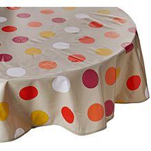 Calitex Tischdecke Wachstuch Rund 180cm Pop Dots orange