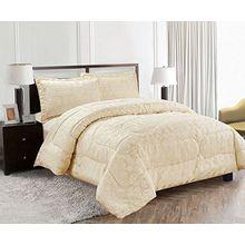 Diane Creme Tagesdecke Bettüberwurf Bettdecke Damast Creme Tagesdecke 240x260 cm + 2 Kissenbezüge 50x75cm