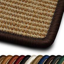 Sisal Teppich myStyle | viele Größen | mit Umkettelung in Wunschfarbe | für modernes und individuelles Wohnen (dunkelbraun umkettelt, 66x130 cm)