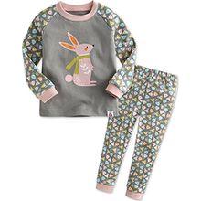 Vaenait Baby Kinder Maedchen Nachtwaesche Schlafanzug-Top Bottom 2 Stuck Set Rabbit Frend XS