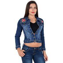 by-tex Damen Jeansjacke Damen Jeans Jacke mit Blumen Stickerei lang große Größen bis Übergröße M03