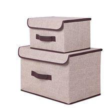 2er Set Aufbewahrungsboxen, aus Baumwolle und Leinen, klappbar mit Deckel. Zum Aufbewahren von Kleidung, Socken, Spielzeug, Snacks und Kleinteilen weiß