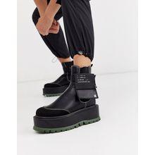 Koi Footwear – Army Girl – Vegan Plattform-Knöchelstiefel in Schwarz und Khaki