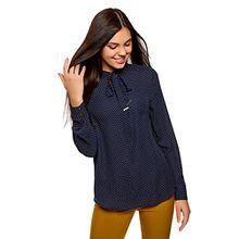 oodji Collection Damen Lässige Bluse mit Bindebändern, Blau, DE 42/EU 44/XL