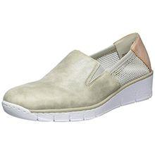 Rieker Damen 53780 Slipper, Grau (Grey/Weiss-Gold/Rose/40), 42 EU